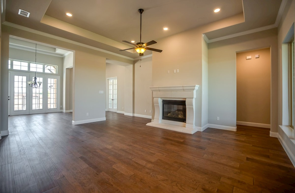 Calais quick move-in open great room with cozy fireplace