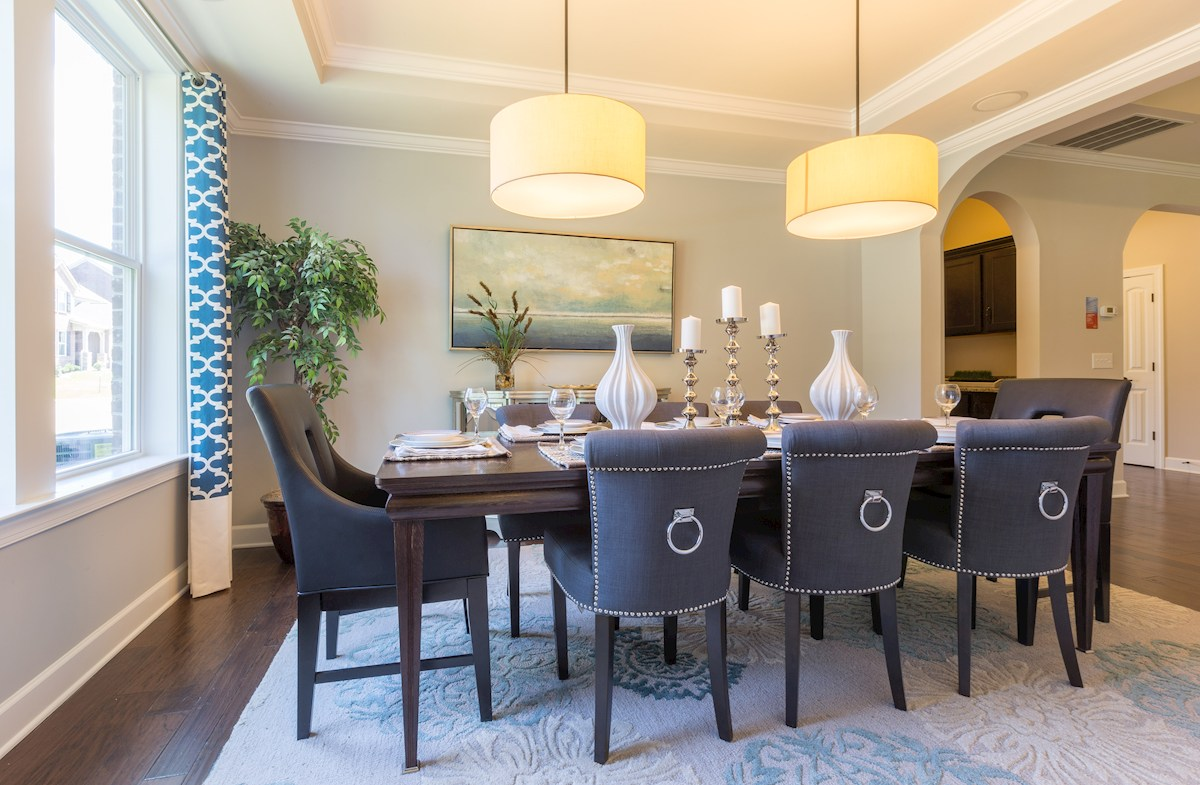 formal dining room with double windows