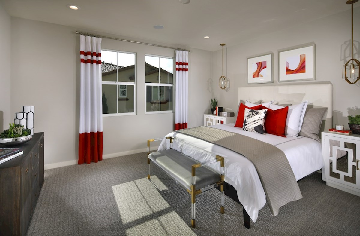 Mission Lane Cottonwood Master bedroom located in the back of home for best exterior views and natural light