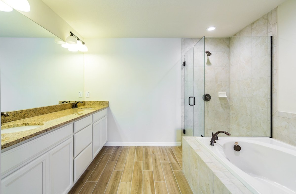 Champlain quick move-in Master bath with glass enclosed shower, garden tub and dual vanity