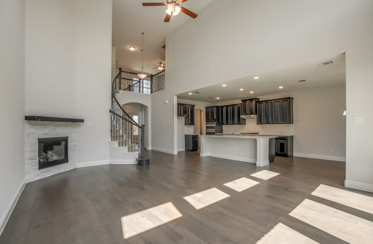 Madison quick move-in open great room with fireplace and wood floors