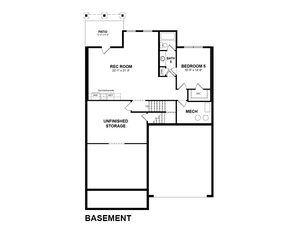 Main floor plan for Optional Basement