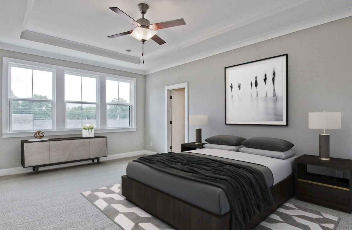 Towns at Old Mill Callahan II Master Bedroom with tray ceilings