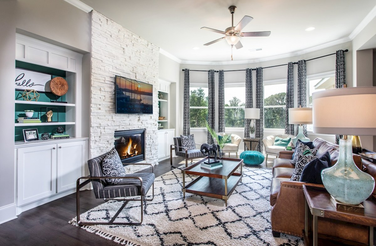 Macland Preserve Laurelwood Family Room with stone stacked fireplace