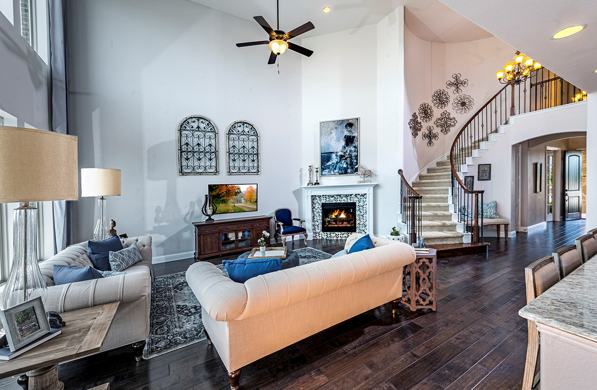 Madison great room with curved staircase