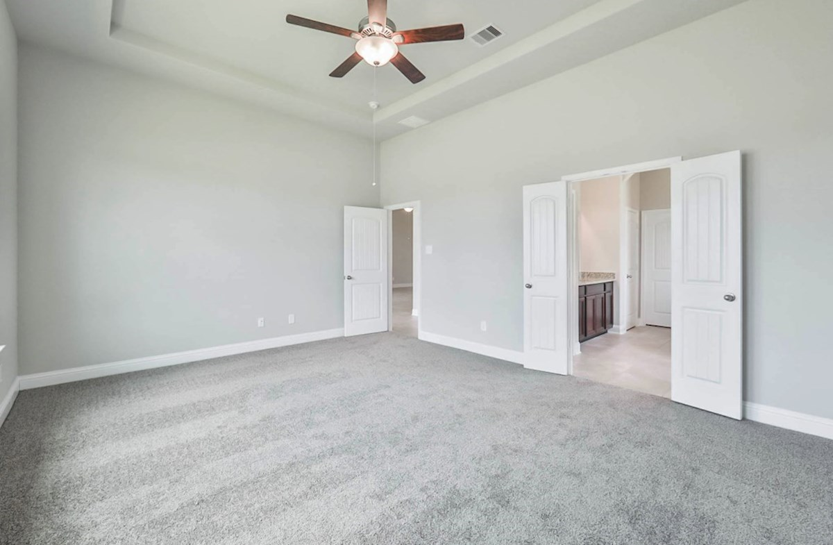Galveston quick move-in master bedroom with tray ceiling and carpet floor