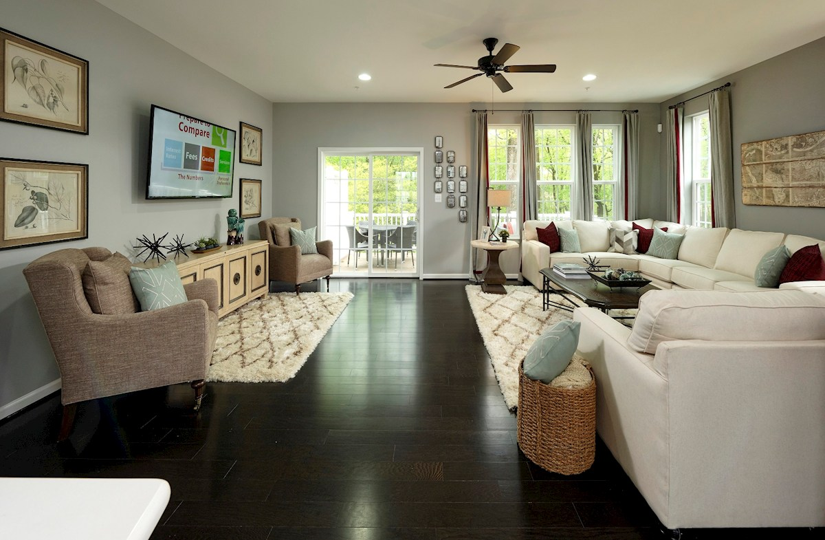 The Preserve at Windlass Run Townhomes  Vienna ligh-filled great room