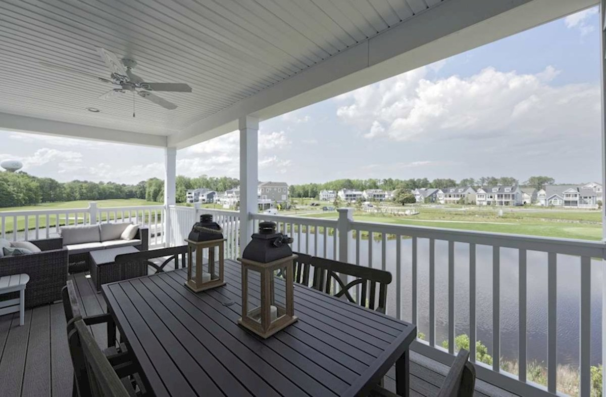 Harbor Crest at Bayside Fenwick Back deck provides beautiful pond views