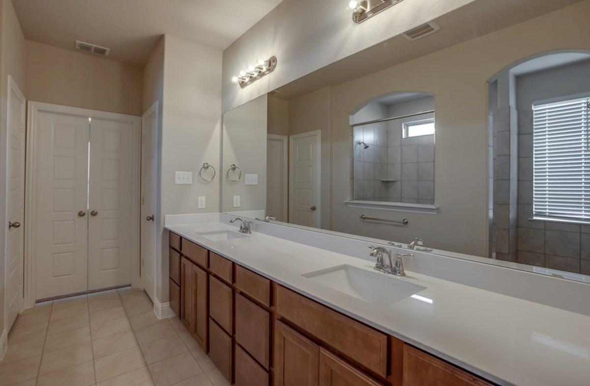 Summerfield quick move-in Summerfield master bathroom with double vanities
