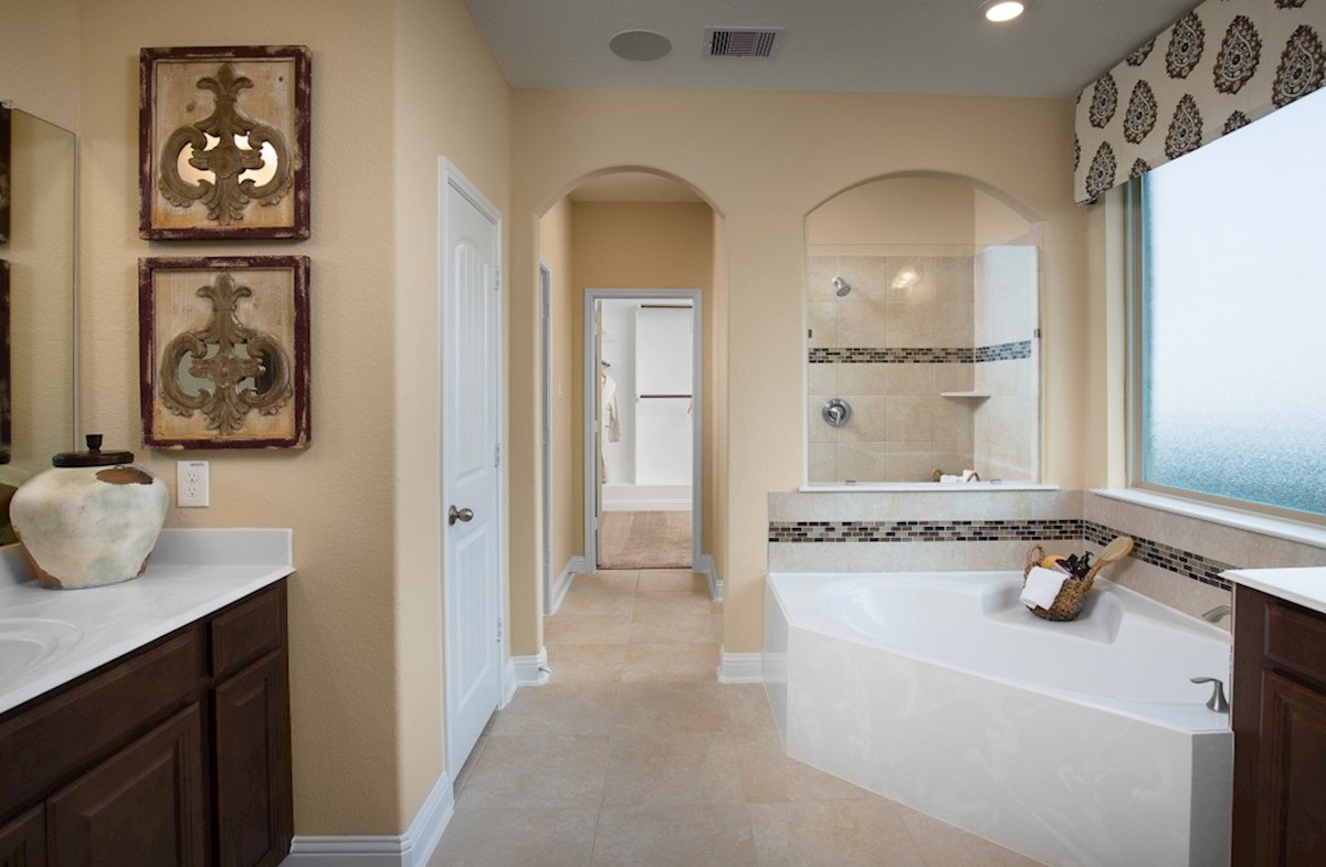 Young Ranch Fenway master bathroom with tub and separate shower