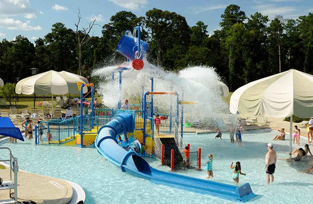 Spacious water park offers slides and shade