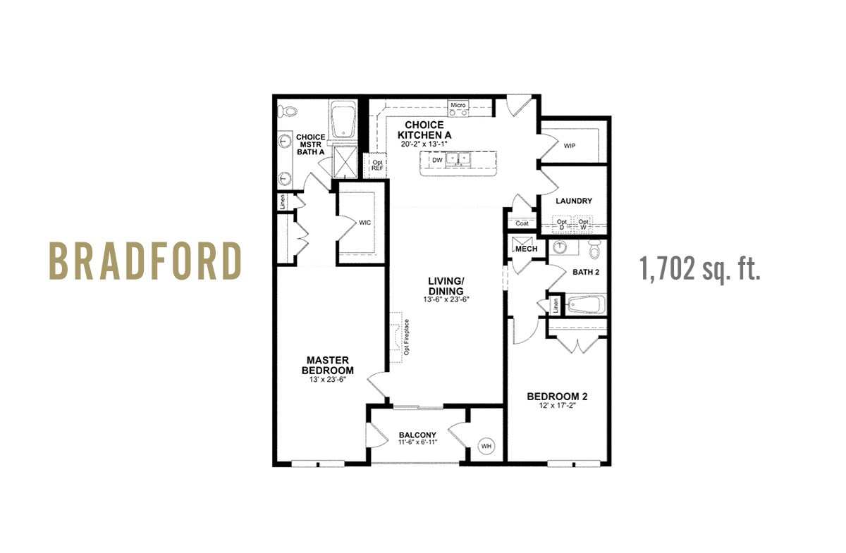 bradford plan open kitchen, dining, and living
