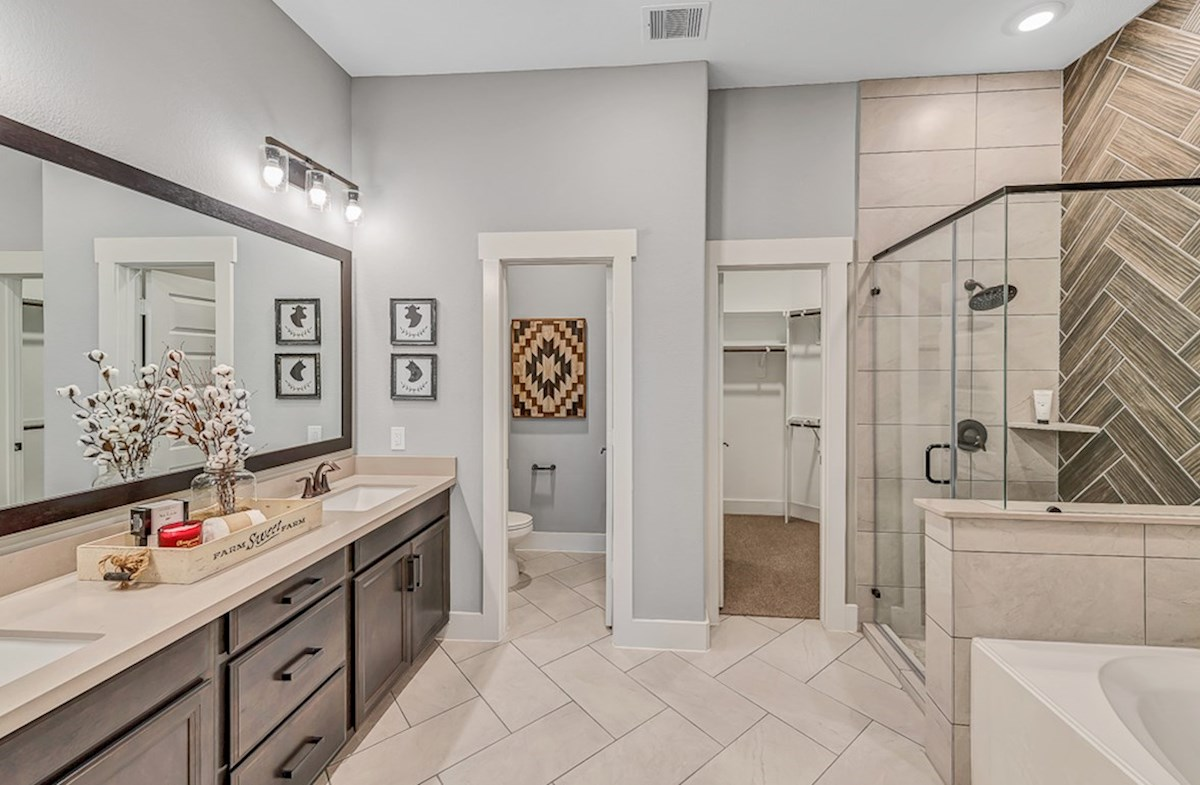 Bridgeland: Harmony Grove Messina master bathroom with separate tub and shower