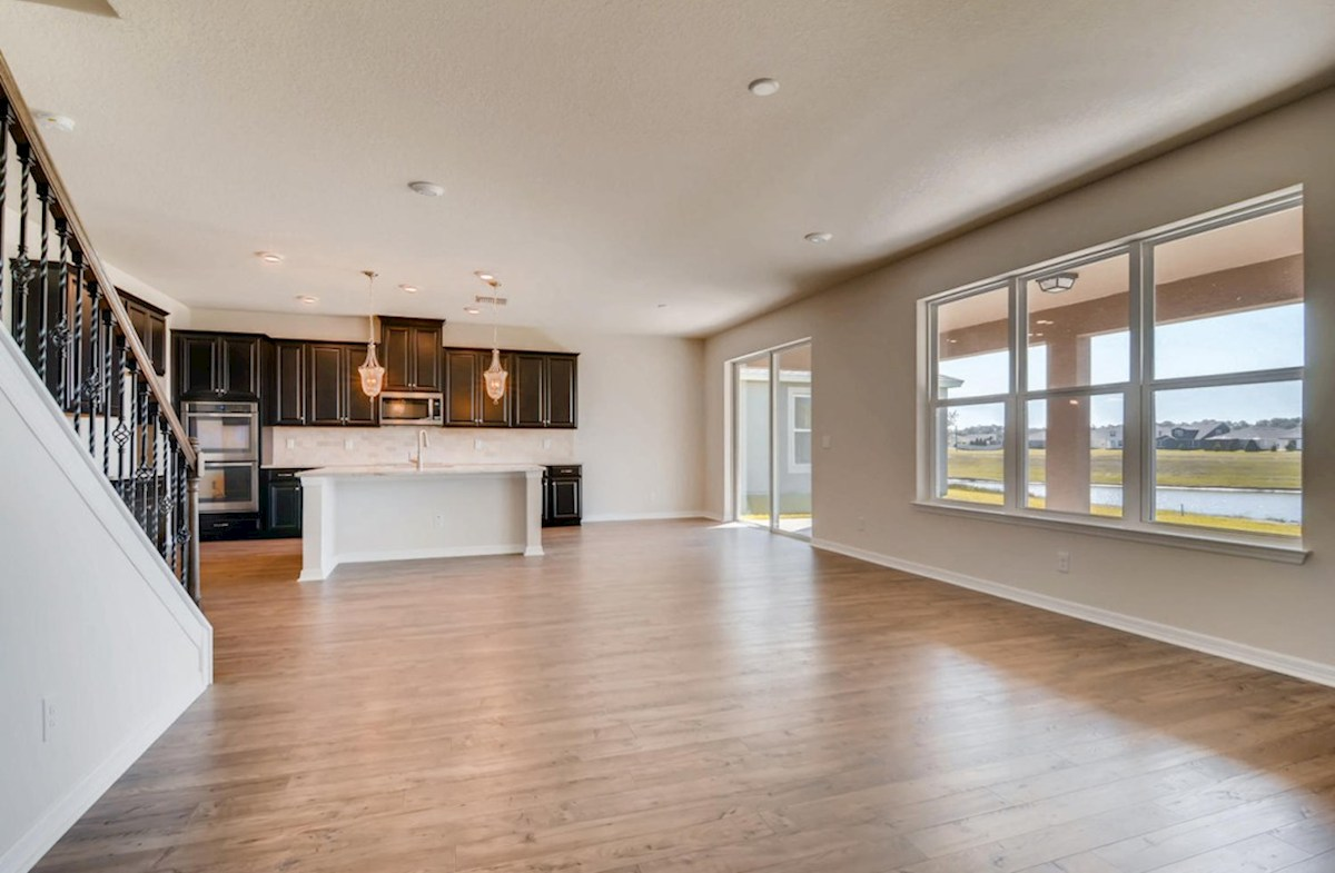 Sequoia quick move-in Kitchen and great room with laminate flooring