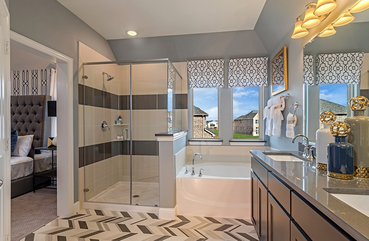 Valencia on the Lake Whitney Whitney master bathroom with oversized shower