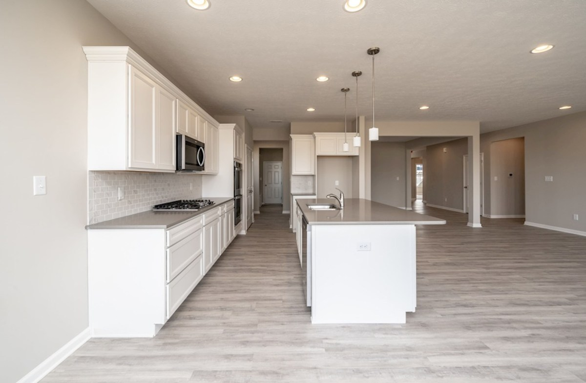 Greenwich quick move-in kitchen with large island and white cabinets
