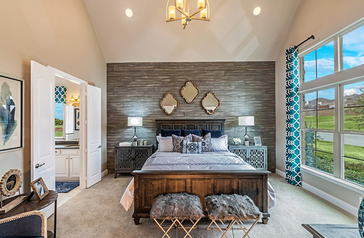 Glen View Brighton master bedroom with vaulted ceilings
