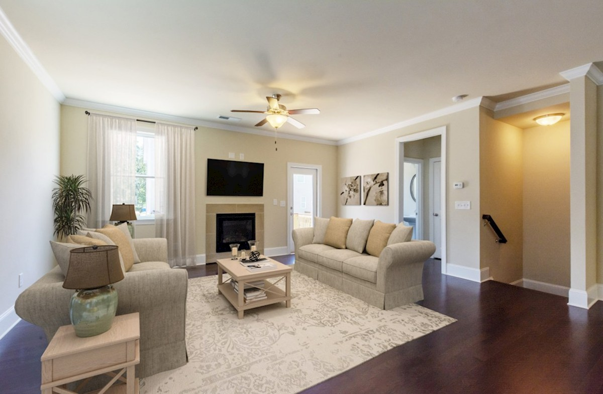Highland Park Langley Family Room with fireplace