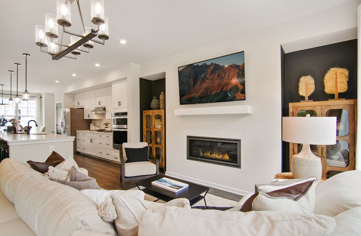 great room with gas fireplace & large sectional