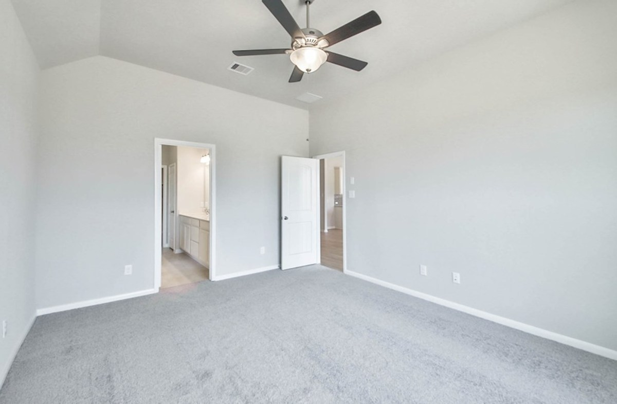 Maxwell quick move-in master bedroom with tall ceilings, fan and carpet floors