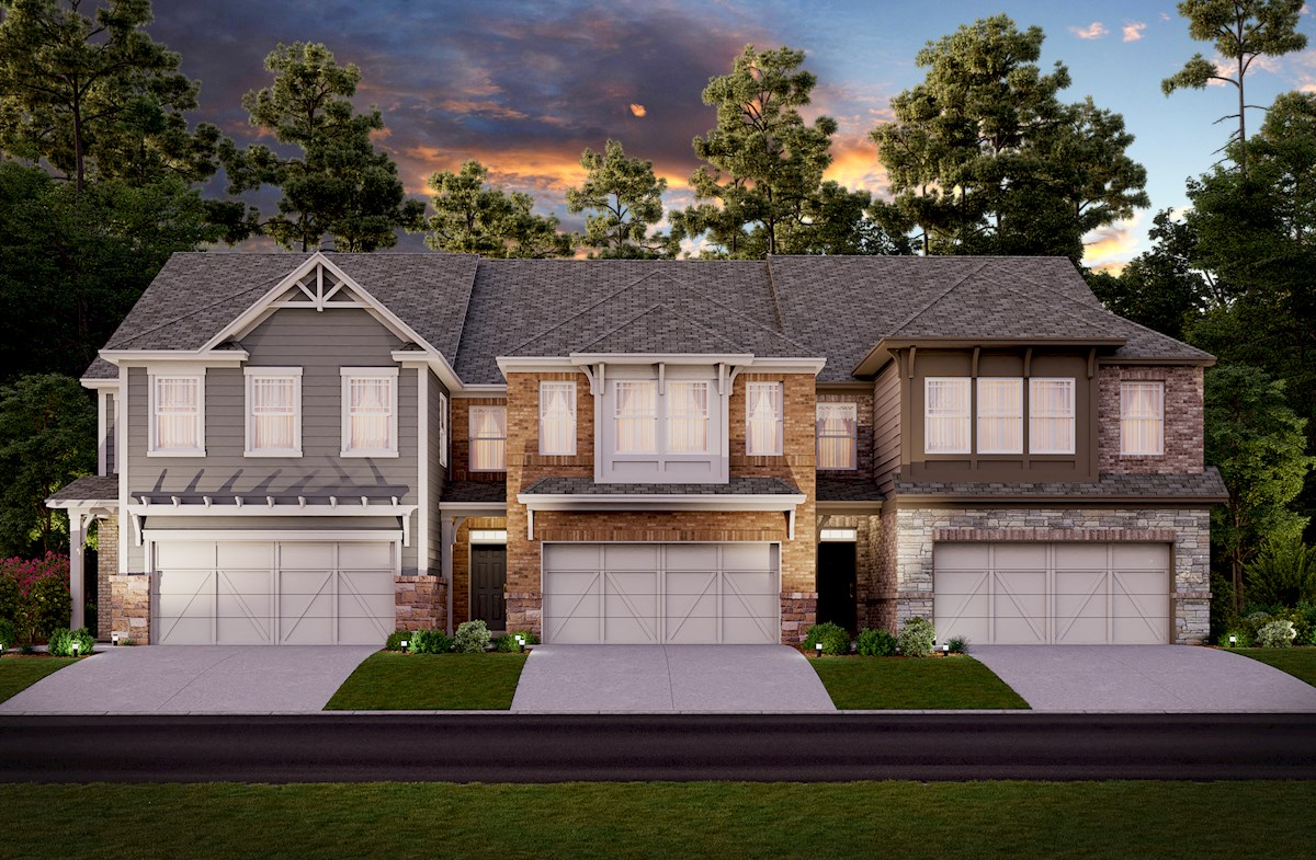 Two-story townhome front exterior