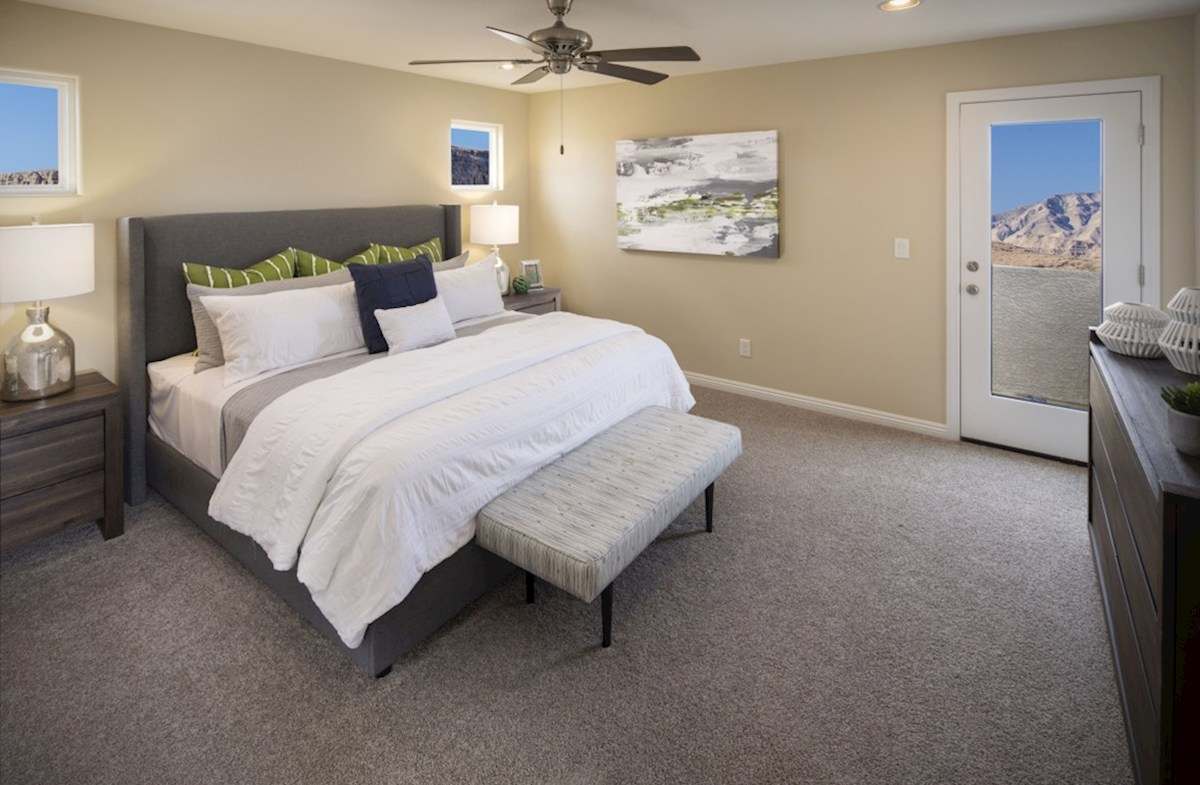 Hamilton Place Mesquite master bedroom is airy and light