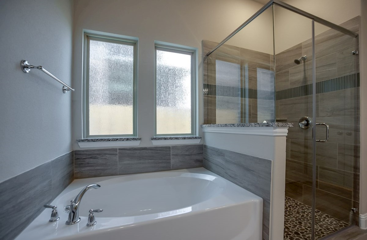Brazos quick move-in master bathroom with soaking tub and walk-in shower