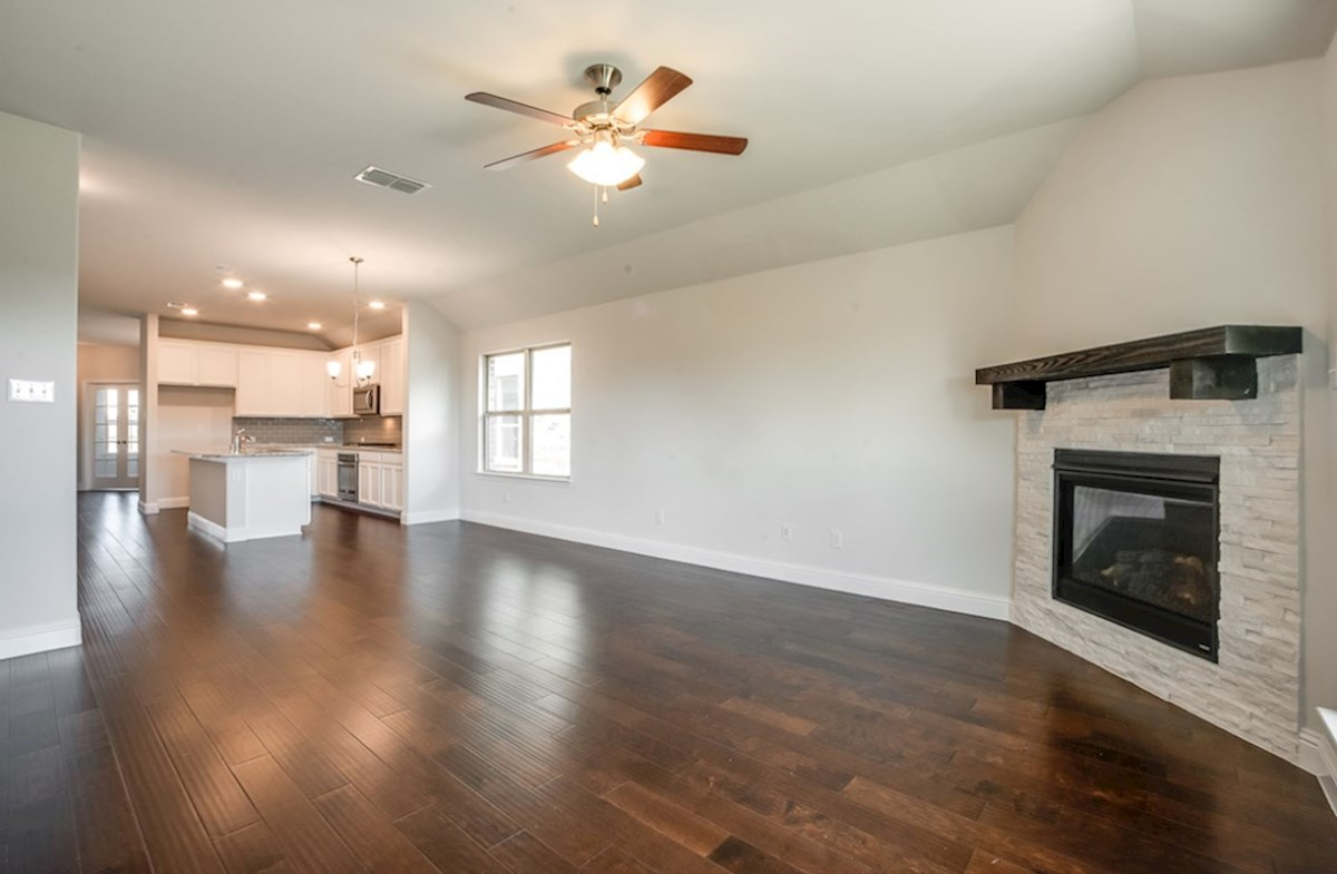 Millbrook quick move-in great room opens to kitchen