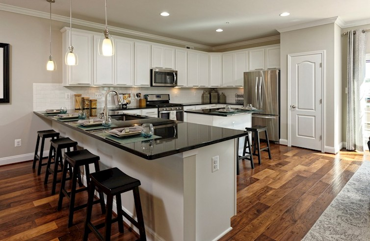 The Preserve at Windlass Run Townhomes  Frederick II  Breakfast bar in the Frederick Kitchen
