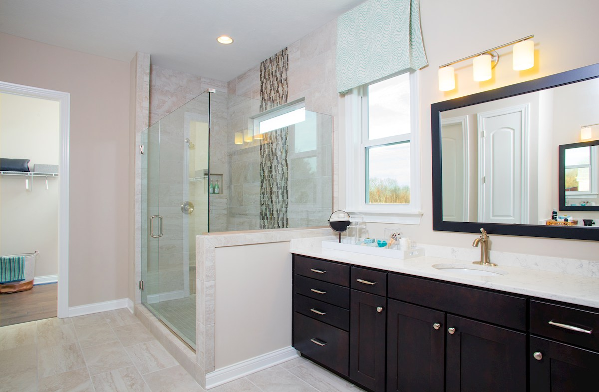 Reserve at Woodside Windsor Luxurious spa shower in master bath