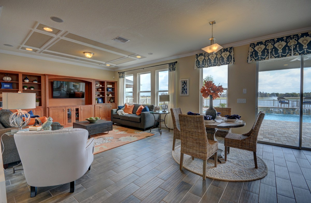 Long Lake Ranch Anna Maria Great room with breakfast area and backyard views