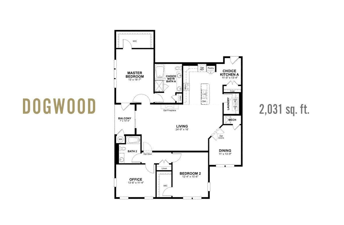 dogwood plan with dining room and office