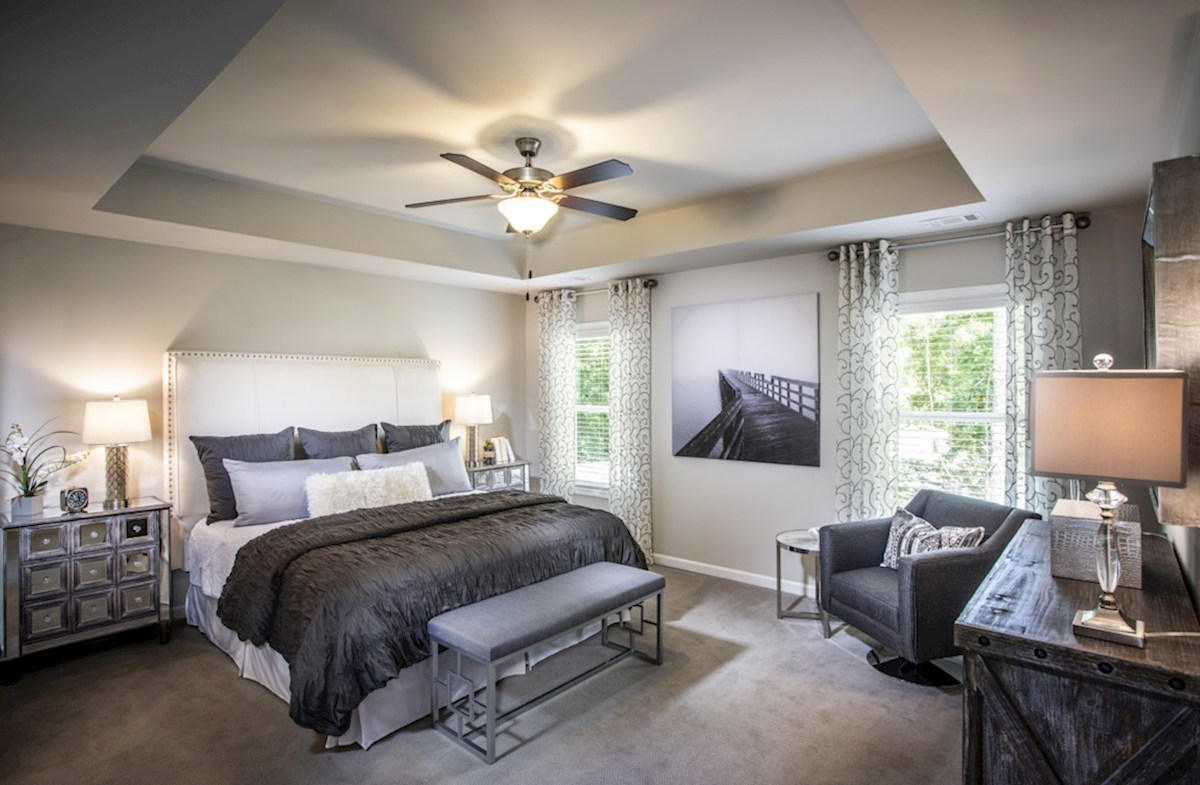 Creekside Overlook Burton Master Bedroom with ceiling fan