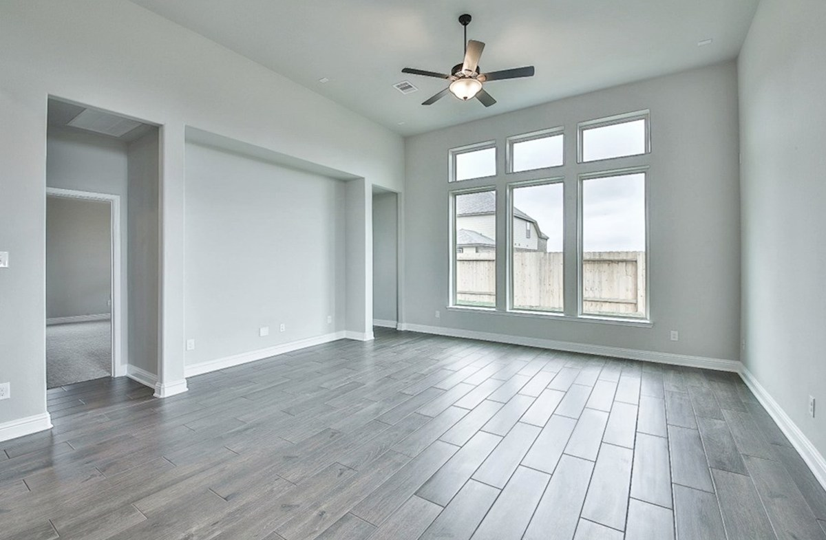 Capri quick move-in great room with tile flooring and tall ceilings