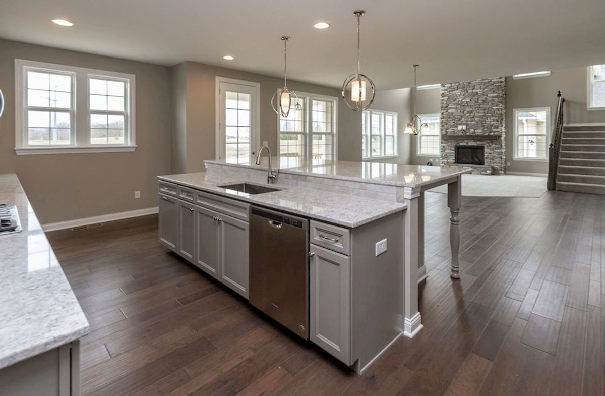 Hampshire Meridian Collection Oakhill gourmet kitchen with large island and quartz countertops