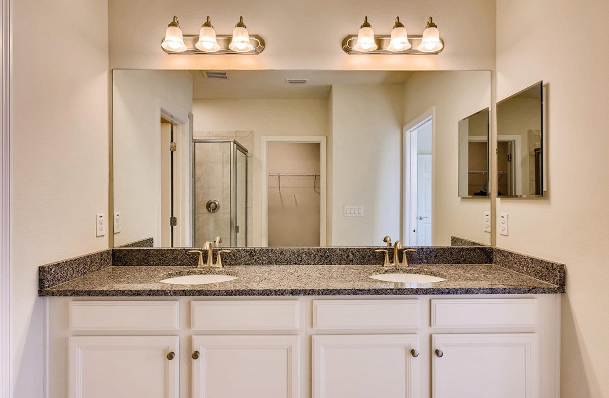 Avalon Park West Redington Master bathroom with dual sink vanity, glass shower and walk-in closet