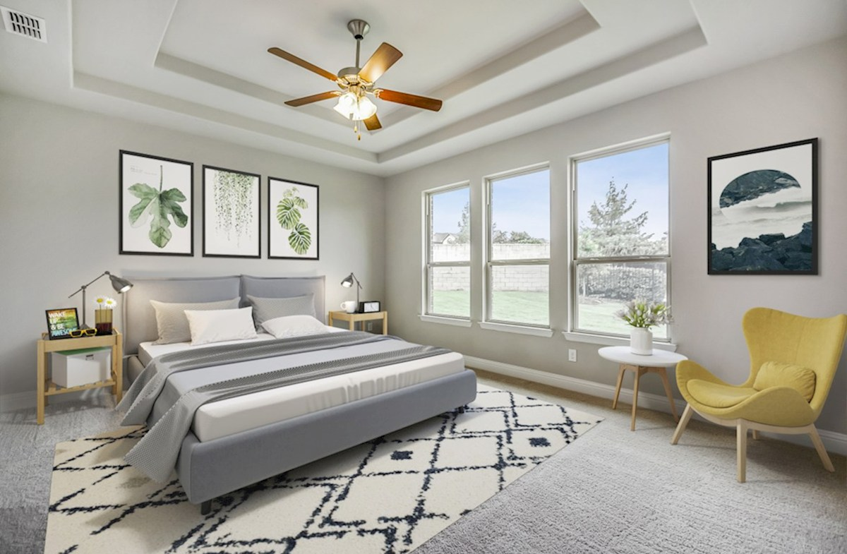 Miramonte Bandera Bandera master bedroom with tray ceiling