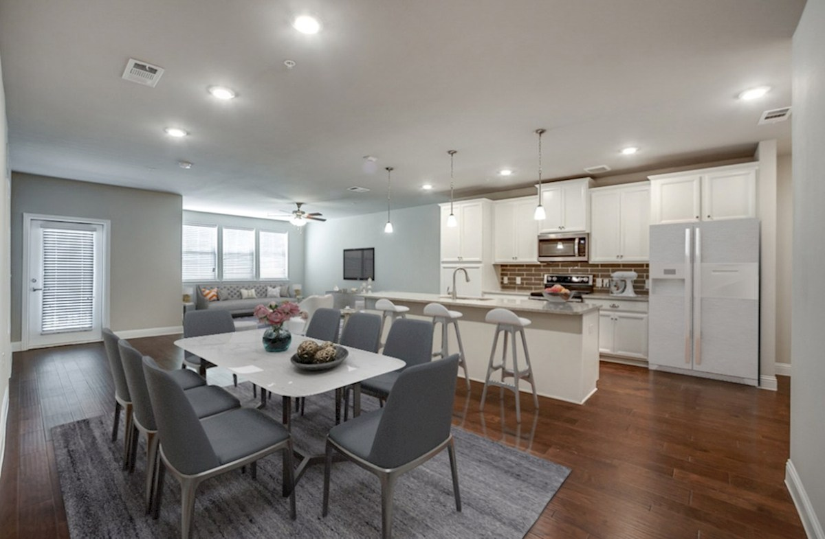 Sherwood quick move-in living area opens to kitchen