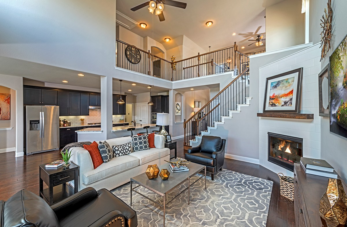Brookhaven great room with fireplace