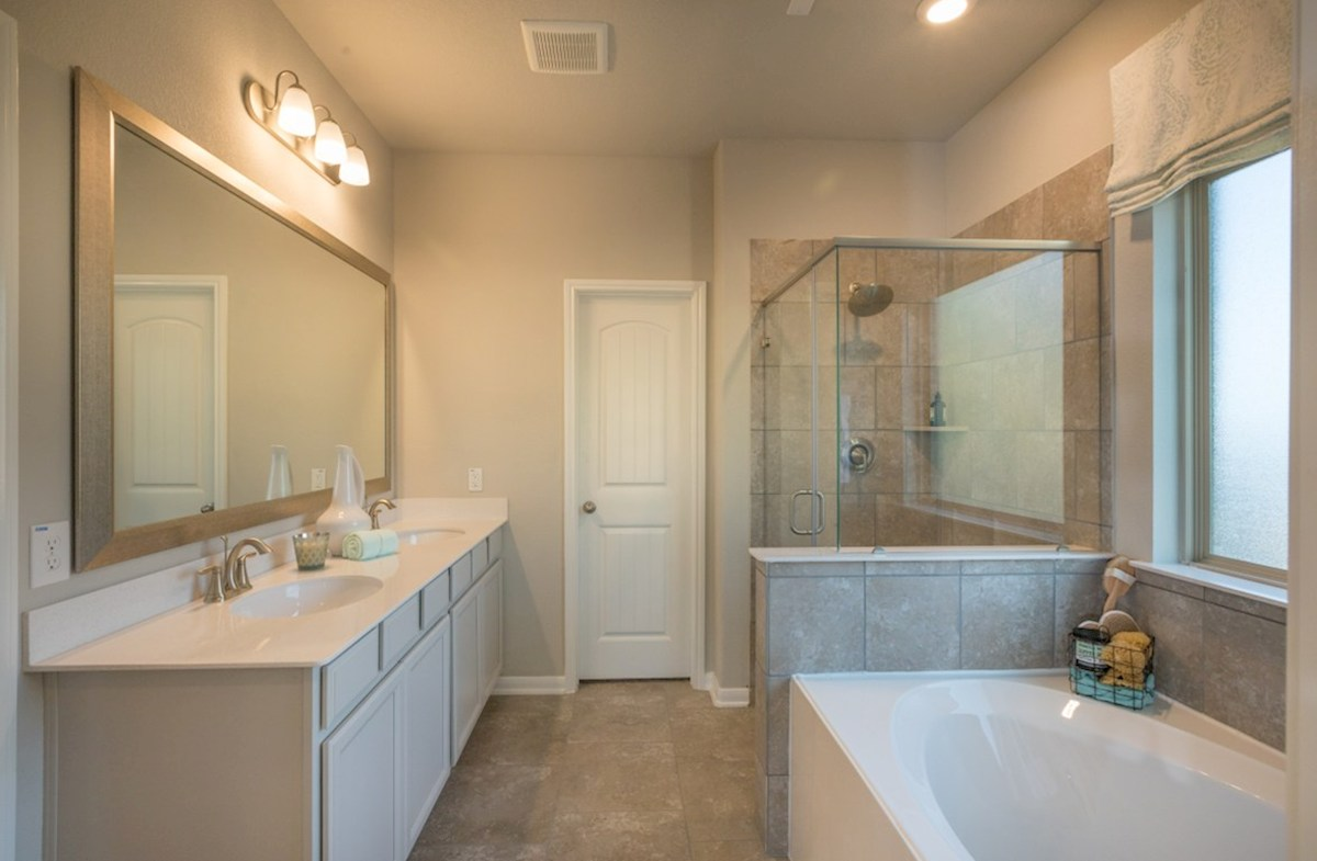 Villages at Harmony Emory master bathroom with seperate tub and shower