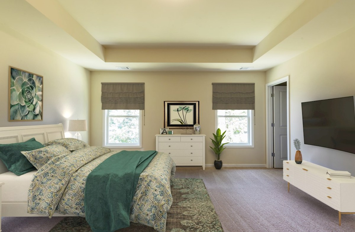 Centennial Walk Hartwell Master Bedroom with tray ceilings