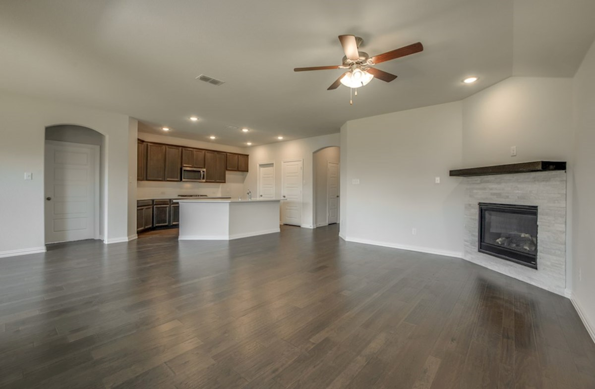 Baxter quick move-in great room with wood floors and fireplace