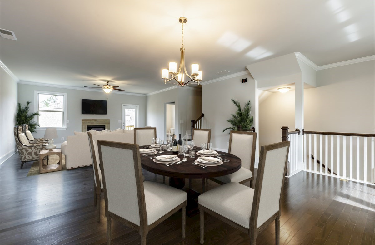 White Oak at East Lake Juniper Dining and Family Room with hardwood floors