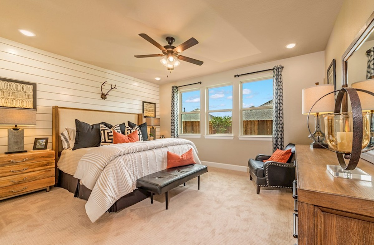 Hickory Creek Crossing Laredo master bedroom with natural lighting