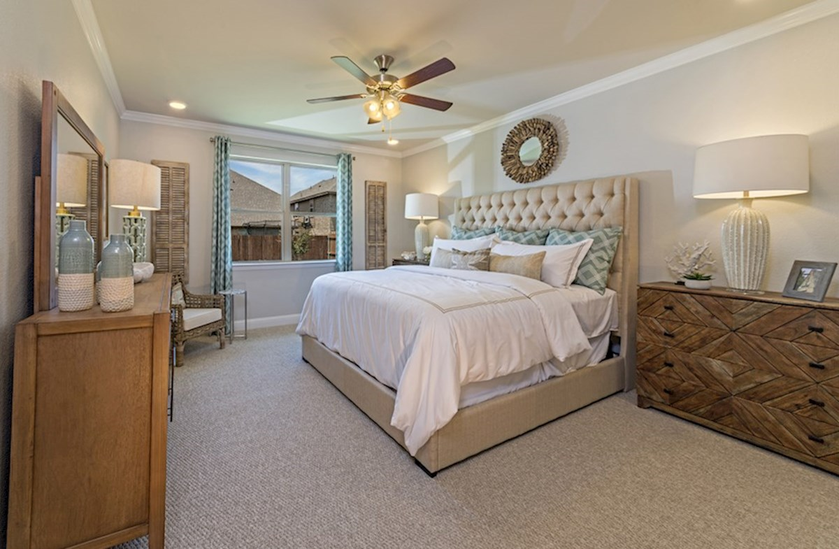 Lakes of Prosper Avalon Avalon master bedroom with tiered ceilings