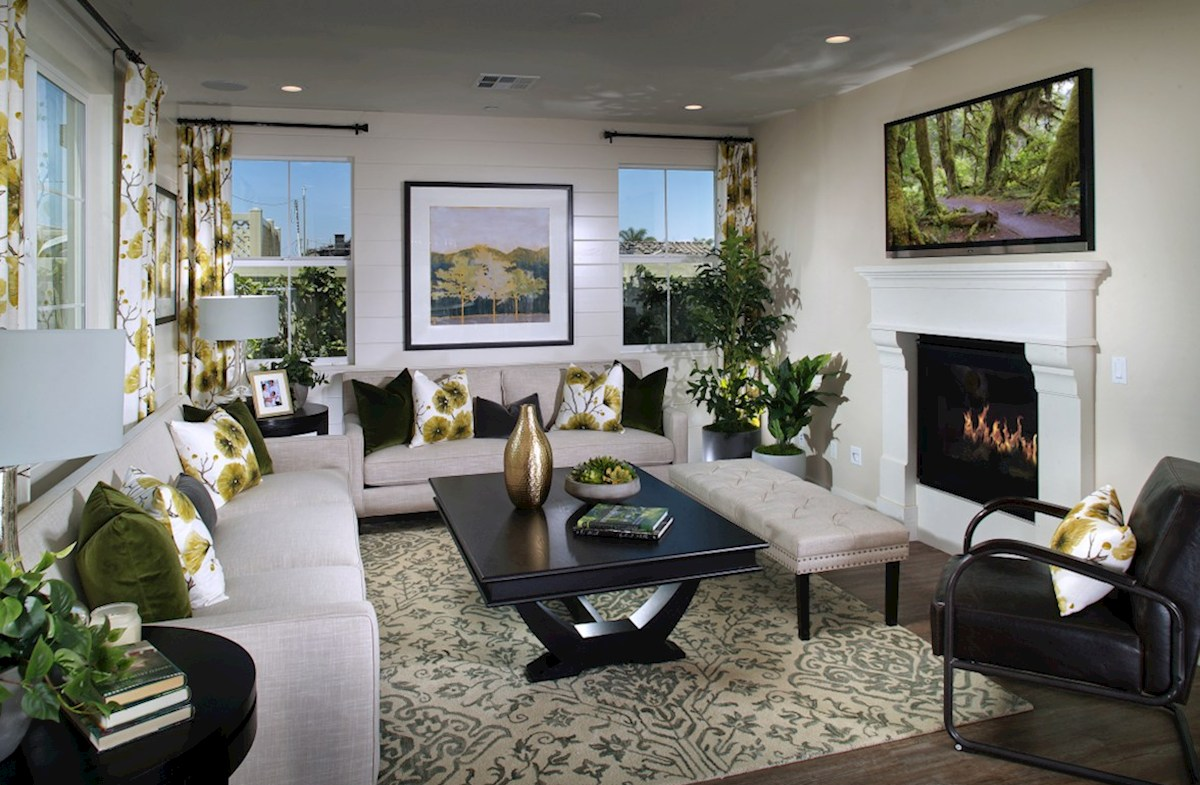 Peony quick move-in The stunning fireplace is positioned as the focal point in the family room