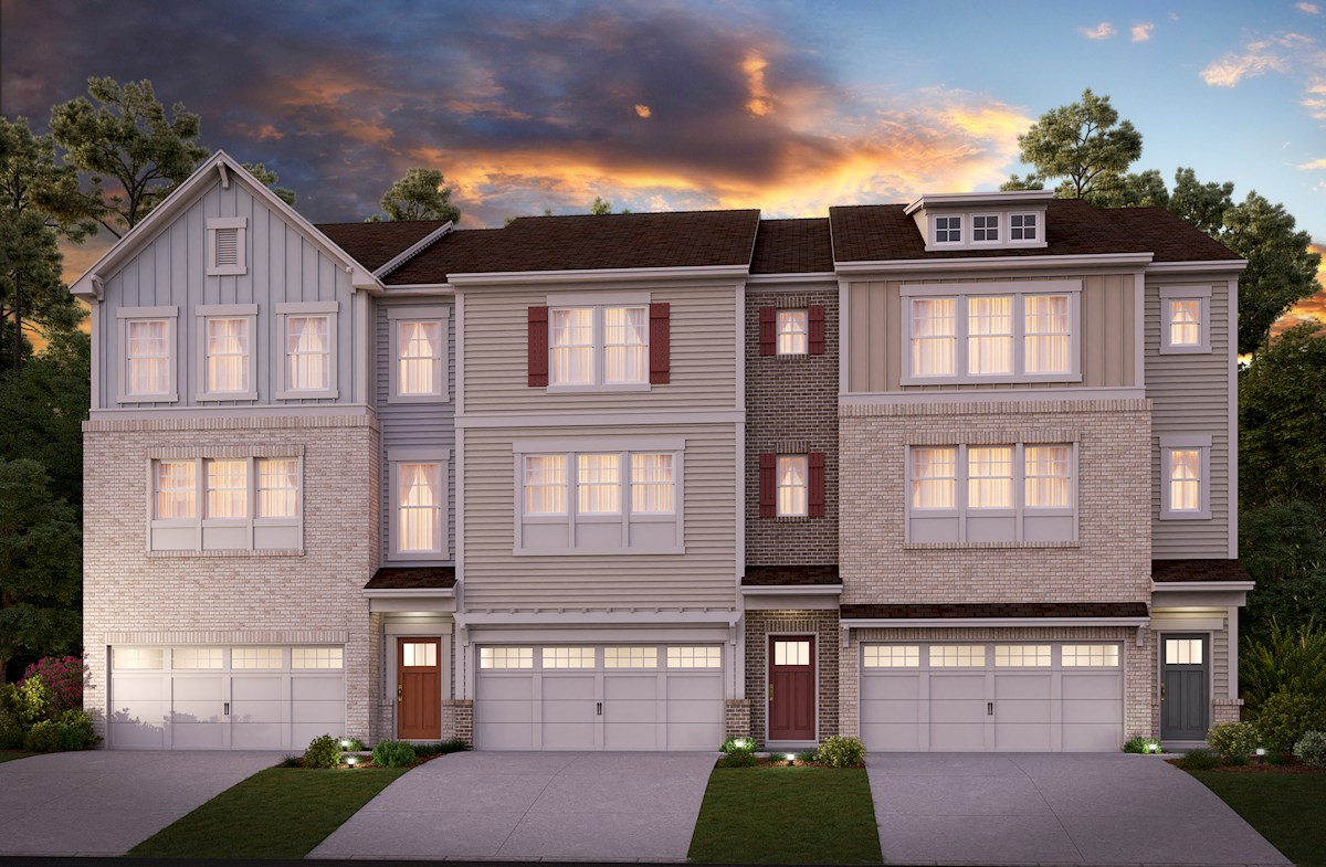 Three-story townhome front elevations