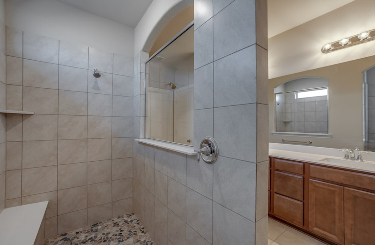 Summerfield quick move-in Summerfield master bathroom with large walk-in shower