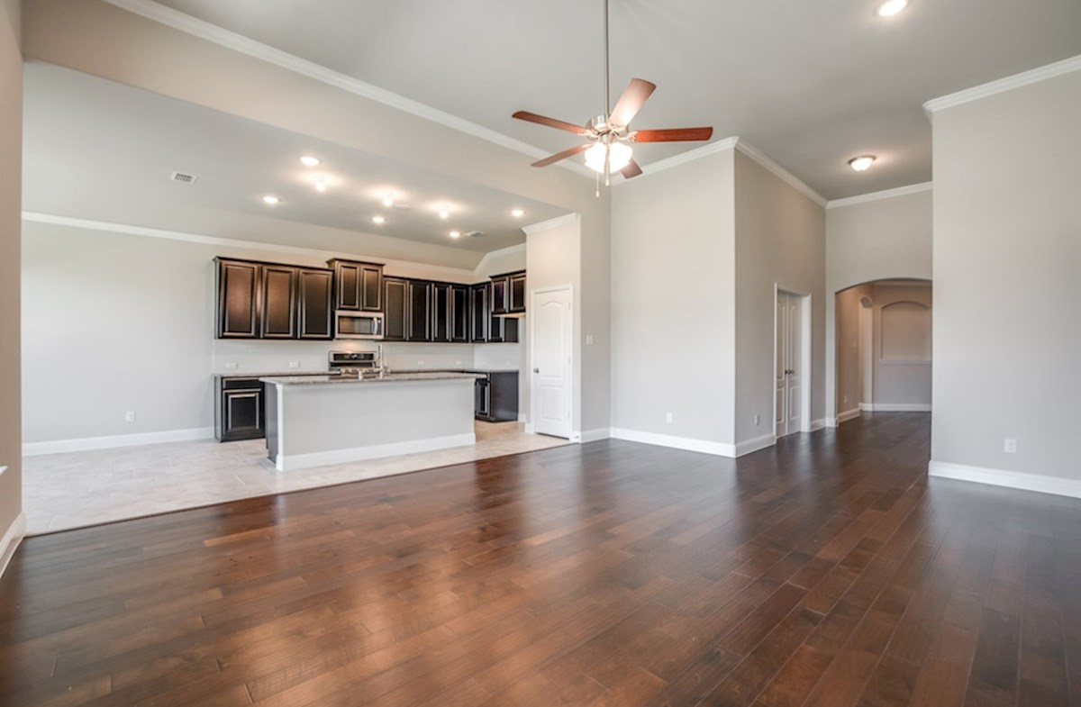 Blakely quick move-in great room boasts wood flooring