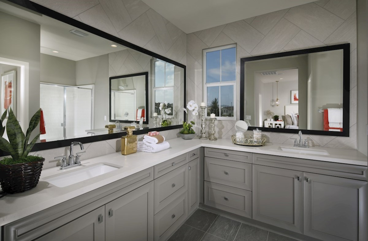 Mission Lane Cottonwood Separate vanities give you more space and privacy